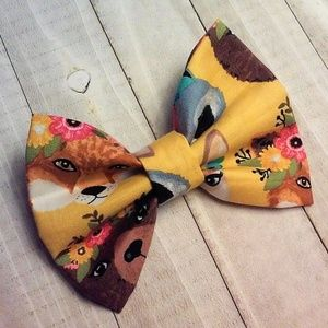 Mustard Color Floral Fauna Bow